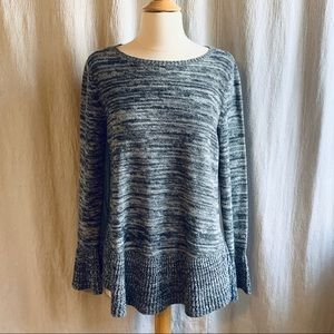 Style & Co Gray Marled Peplum Ruffle Sweater Large